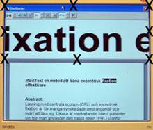 Skärmavbild av ett textdokument med åtta fixationspunkter utspridda