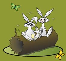 Två tecknade kaniner på en stock