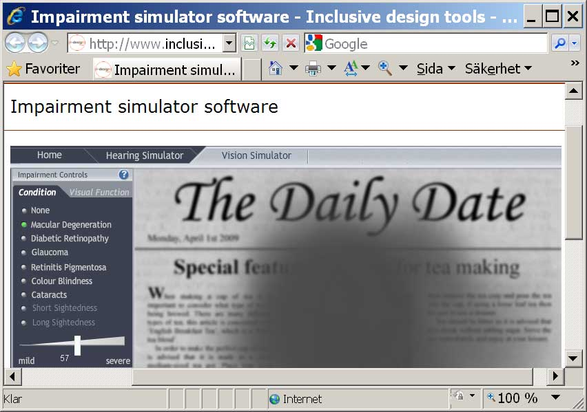 Impairment Simulator Software